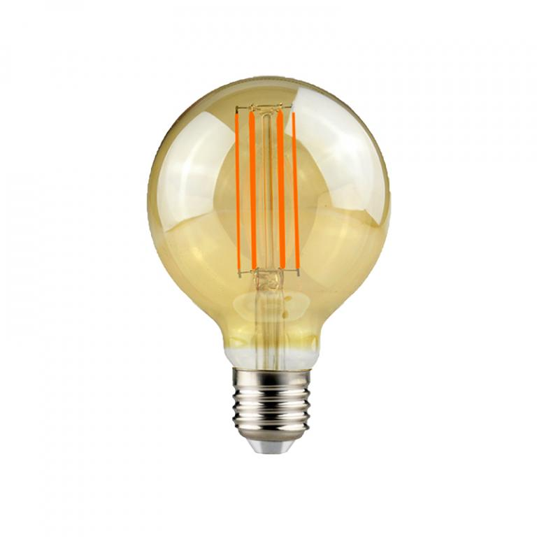 LAMP. FILAMENTO LED AMBAR G95 7W DIM E27 3000K